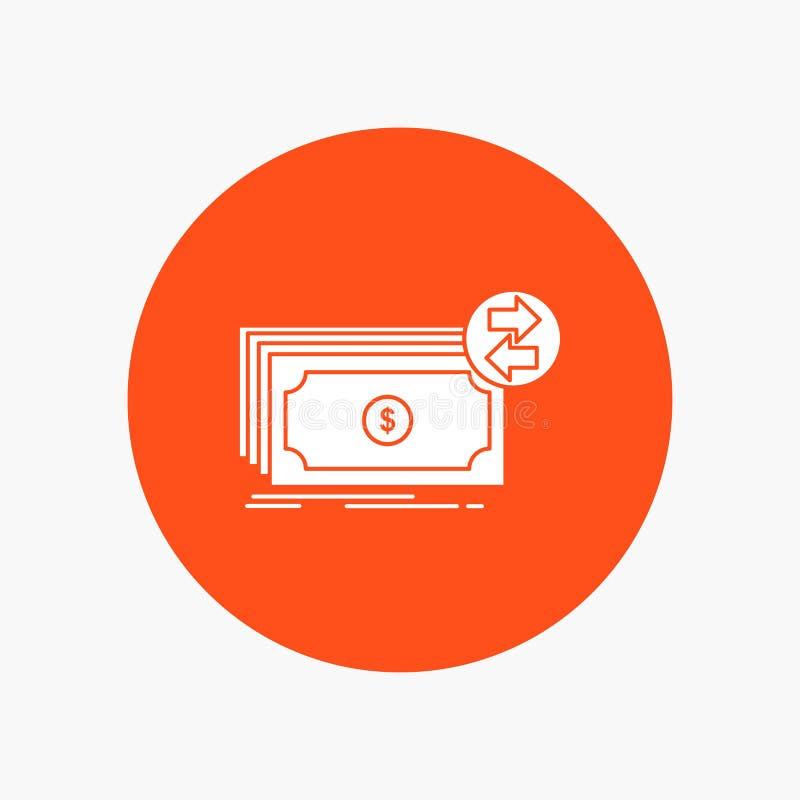 Bankbiljetten, contant geld, dollars, stroom, Pictogram van geld het Witte Glyph in Cirkel Vectorknoopillustratie stock illustratie
