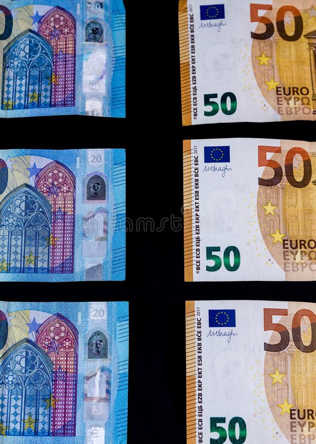 Bankbiljetten van de geld de Euro waarde, Europese Unie betalingssysteem stock foto
