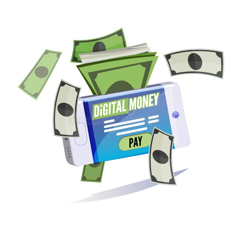 Bankbiljetten van mobiele telefoon Digitaal Geldconcept E-betaling e vector illustratie