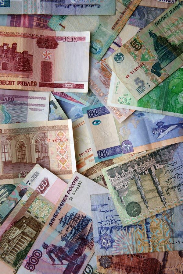 Bankbiljetten van verschillende landen - papiergeld stock afbeeldingen