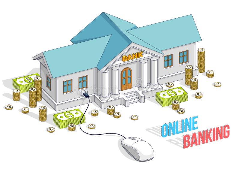 Bankbyggnad med datormus- och kassapengarbunten och mynt, online-bankrörelsen, tecknad film som isoleras på vit bakgrund isometri vektor illustrationer