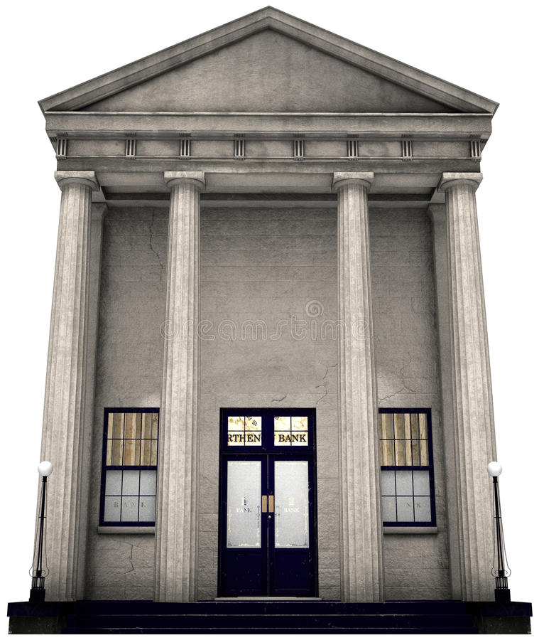 Bankbyggnad, pengar och att investera, isolerat royaltyfri illustrationer