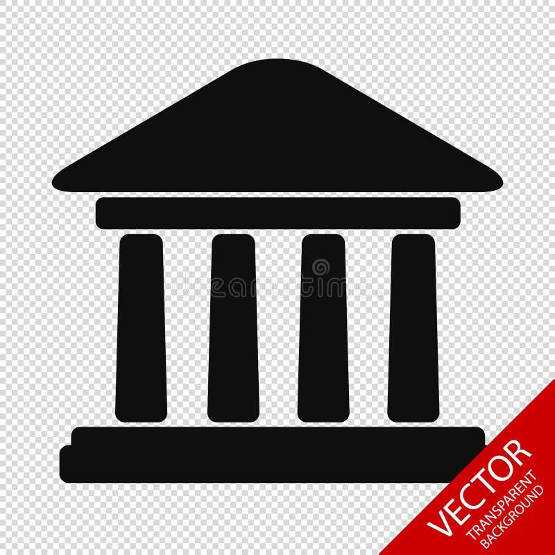 Bankbyggnad - vektorillustration - som isoleras på genomskinlig bakgrund stock illustrationer