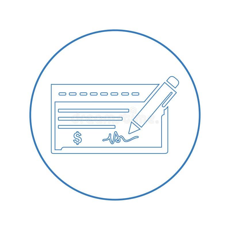 Bankchecksymbol royaltyfri illustrationer