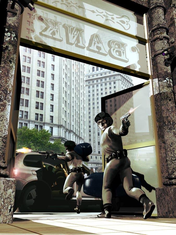 Bankdiefstal stock illustratie
