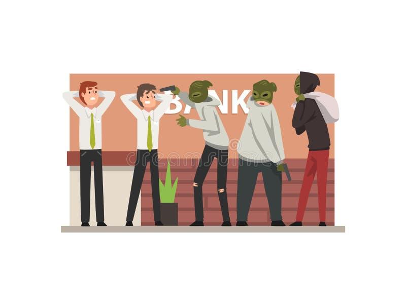 Bankdiefstal, Groep Mannelijke Misdadigers in Maskers die Werknemers bedreigen die Inbraak Vectorillustratie begaan stock illustratie