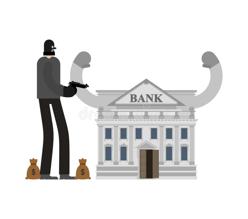 Bankdiefstal Rover en zak geld Inbreker in masker plundere royalty-vrije illustratie