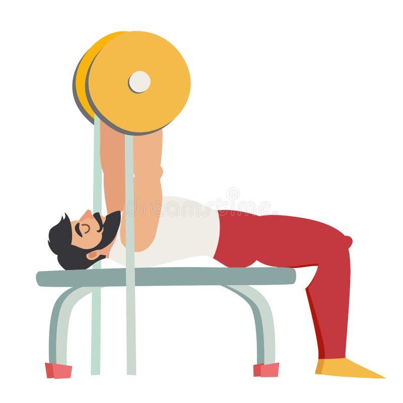 Bankdrückenübung Bärtiger Mann mit den Muskeln trainieren in der Turnhalle Auch im corel abgehobenen Betrag lizenzfreie abbildung