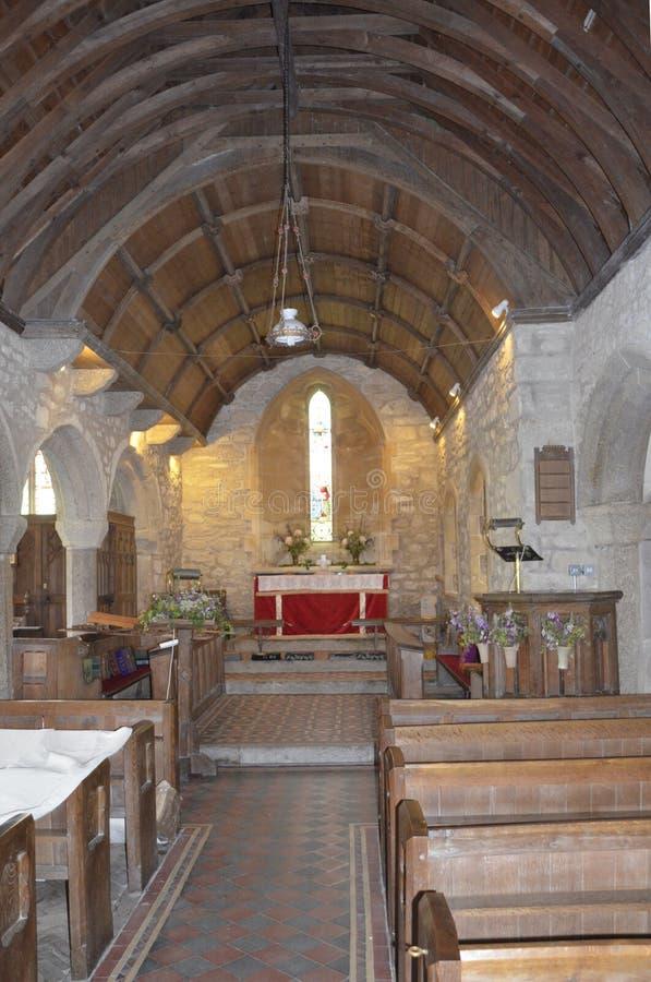 Banken en Altaar bij Zennor-Kerk dichtbij St Ives stock foto's