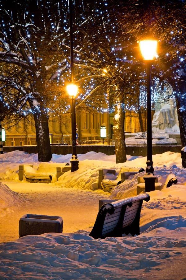 Banken en lampen bij de winternacht stock foto's