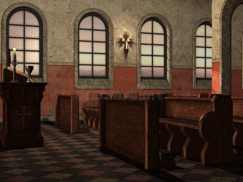Banken in middeleeuwse kerk vector illustratie