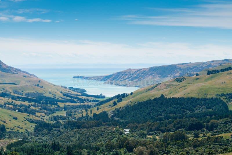 Bankenschiereiland Akaroa Christchurch Nieuw Zeeland stock afbeelding