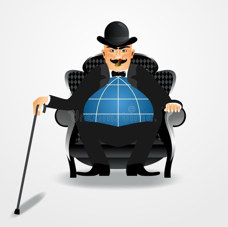 Banker, der mit einem Stock sitzt stock abbildung