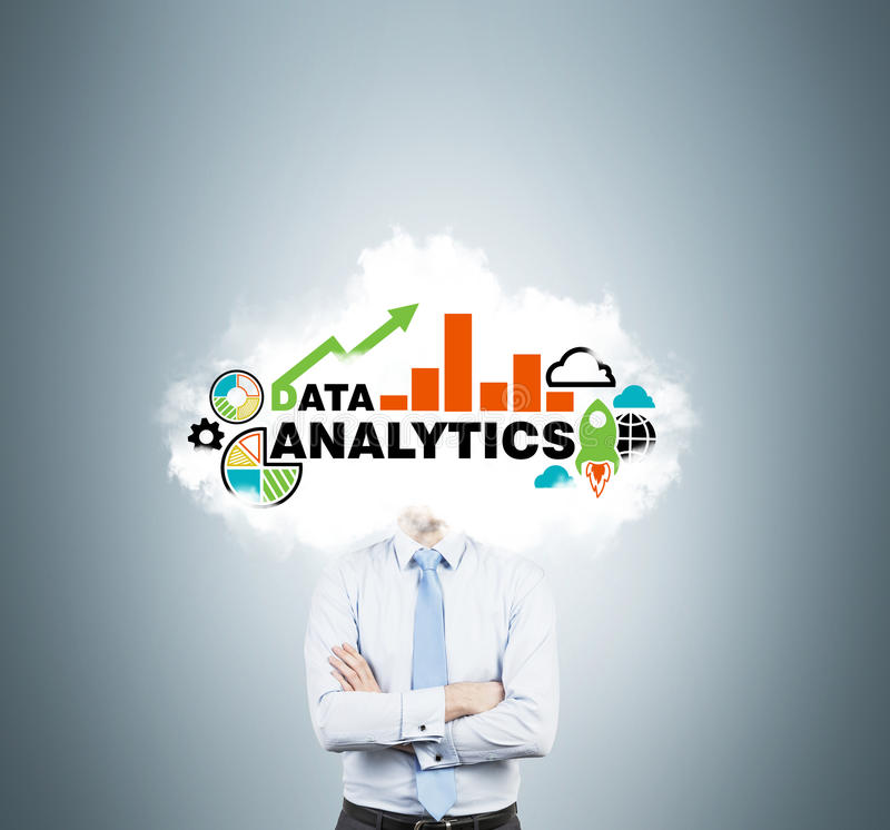 Banker is thinking about analytic solutions for business development. stock photo