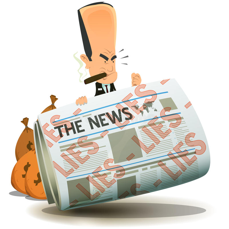 Bankers And Finance Owning The Medias. Illustration of a cartoon banker character hiding behind newspaper icon stock illustration