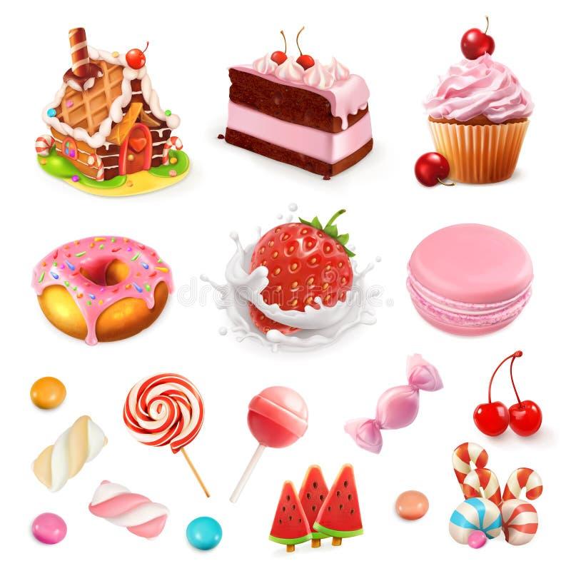 Banketbakkerij en desserts Aardbei en melk, cake, cupcake, suikergoed, lolly Drie kleurenpictogrammen op kartonmarkeringen stock illustratie