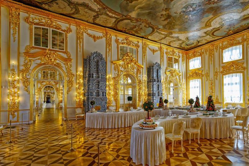 Bankettrum i Tsarskoe Selo (Pushkin), St Petersburg, Ryssland royaltyfri fotografi