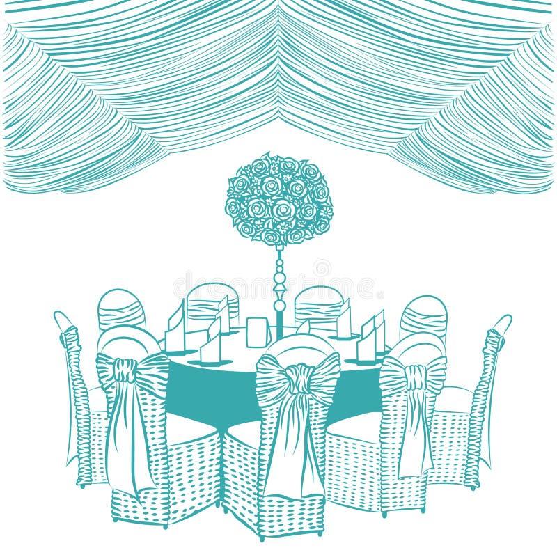Banketttabell med stolar stock illustrationer