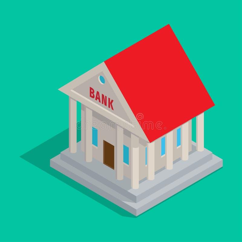 Bankgebäude in der alte Art-isometrischen Ikone lizenzfreie abbildung