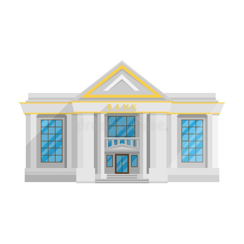 Bankgebäude flach in der Art auf einer weißen Hintergrundvektorillustration stock abbildung