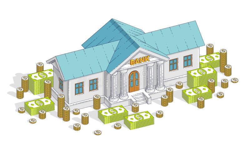 Bankgebäude mit Bargelddollarstapel und Münze stapeln die Karikatur, die über weißem Hintergrund lokalisiert wird Isometrisches G vektor abbildung