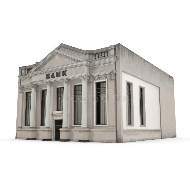 Bankgebäude mit Spalten auf Weiß Abbildung 3D stock abbildung