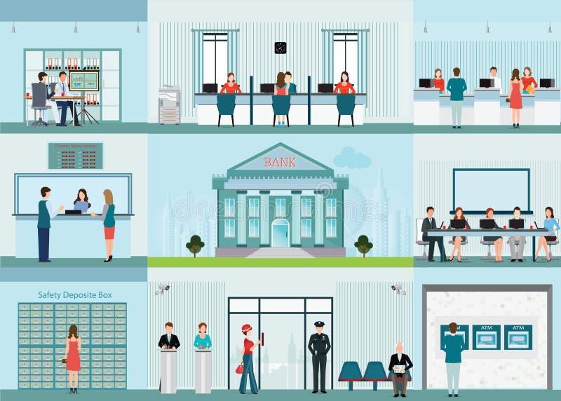 Bankgebäude und Finanzierung infographic mit Büro lizenzfreie abbildung