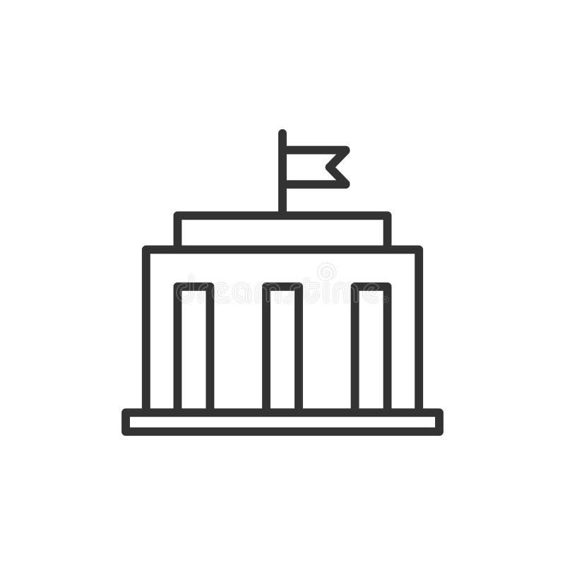 Bankgebäudeikone in der flachen Art Regierungsarchitekturvektor vektor abbildung