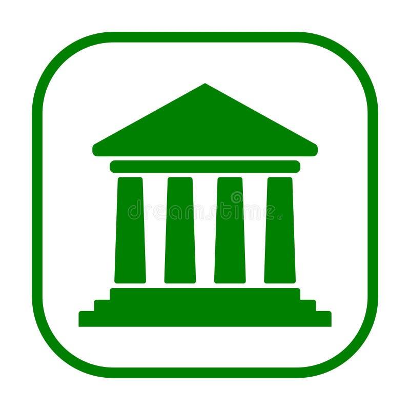 Bankgebäudeikone, Gerichtsgebäudeikone lizenzfreie abbildung