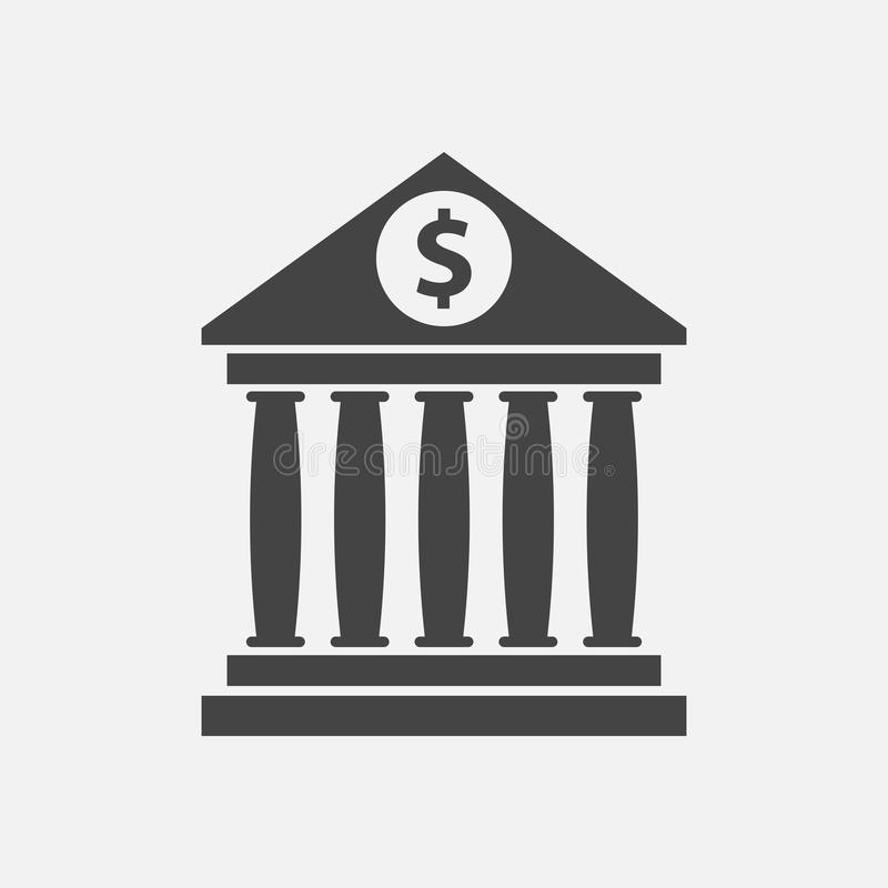 Bankgebäudeikone mit Dollar unterzeichnen herein flache Art vektor abbildung
