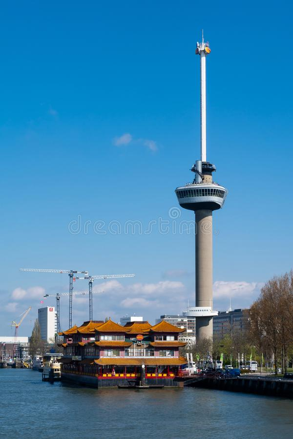 Banki Nowy Meuse w Rotterdam w holandiach fotografia royalty free