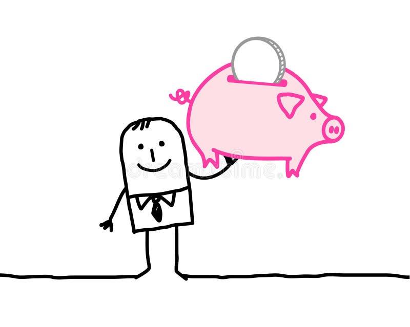 Bankier en spaarpot vector illustratie