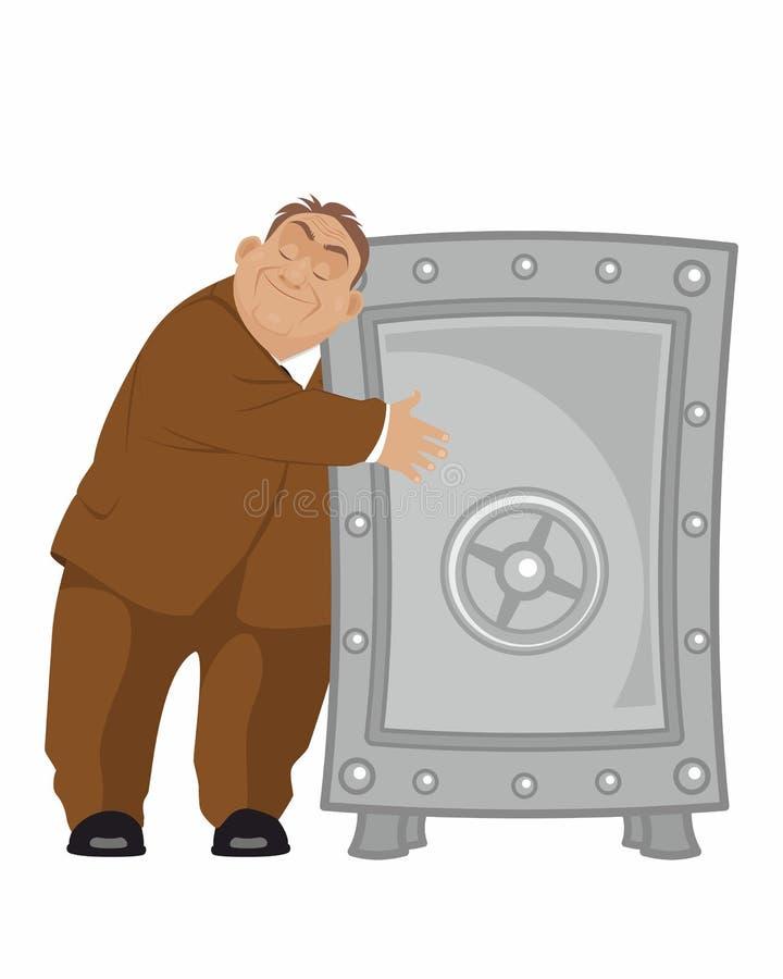 Bankier met brandkast royalty-vrije illustratie