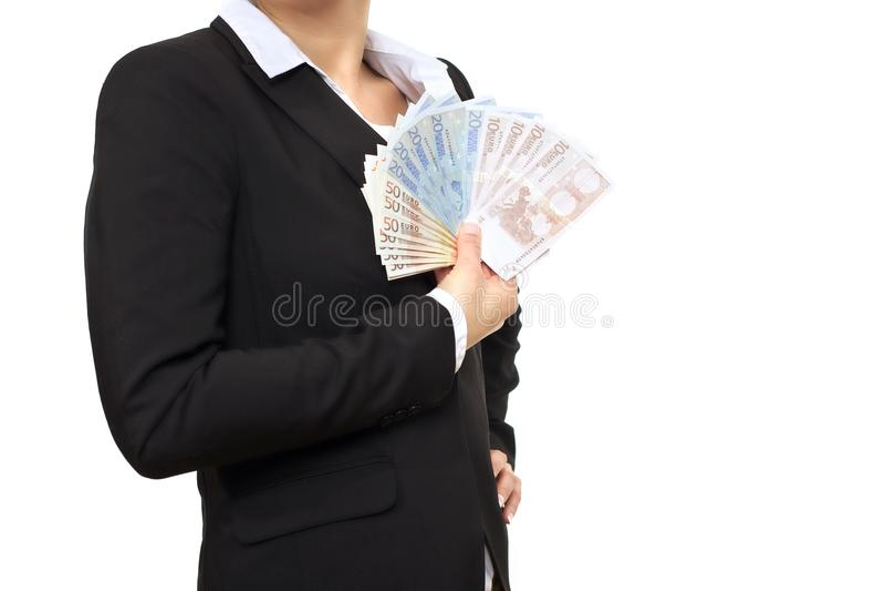 Bankier in Pak met Euro Rekeningen royalty-vrije stock fotografie