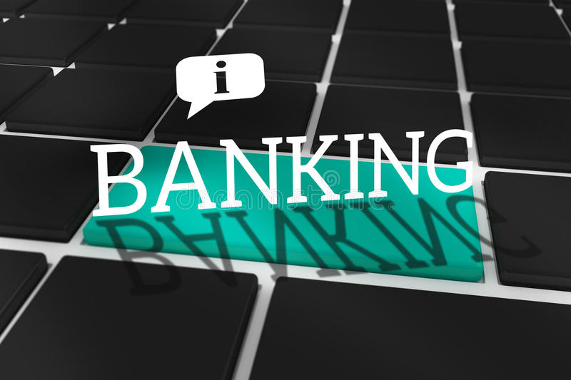 Banking against black keyboard with blue key. The word banking and speech bubble against black keyboard with blue key royalty free illustration