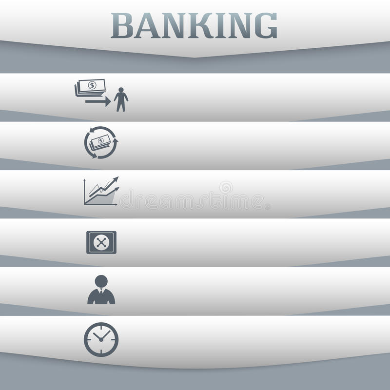 Banking-concept-on-gray-background-with-a-card-icon stock illustration