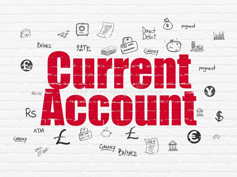 Banking concept: Current Account on wall background. Banking concept: Painted red text Current Account on White Brick wall background with Hand Drawn Finance vector illustration