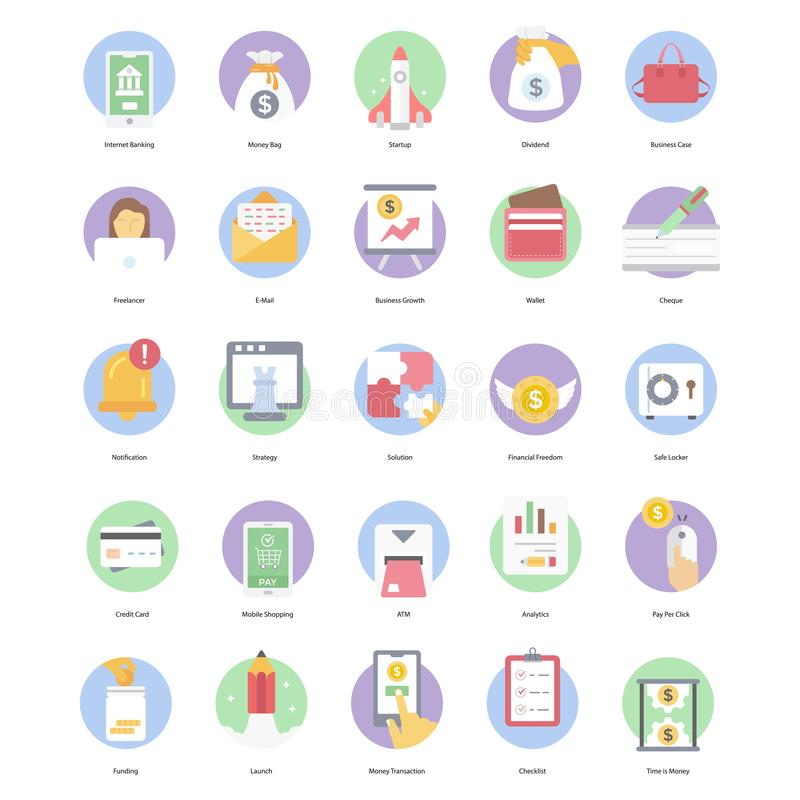 Banking and Finance Flat Rounded Icons Pack royalty free stock image