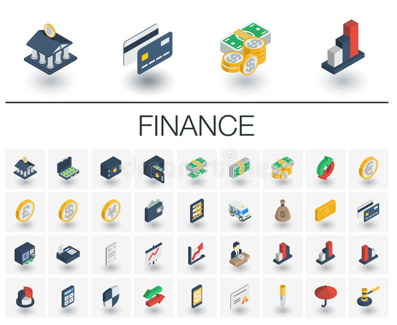 Banking and finance isometric icons. 3d vector stock illustration