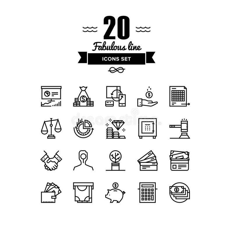 Banking and finance line icons set royalty free illustration