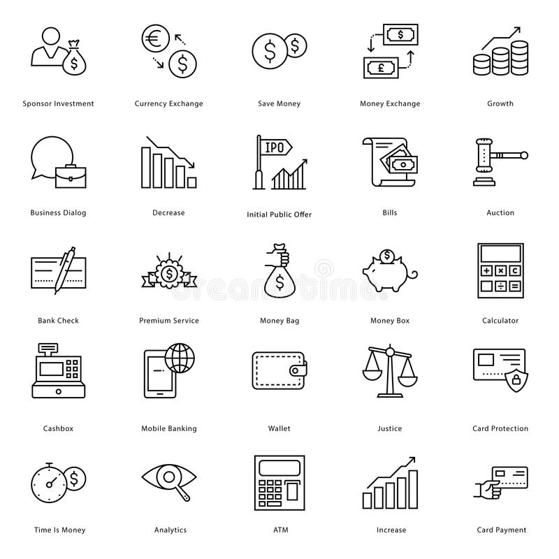 Banking and Finance Line Vector Icons 1 stock illustration