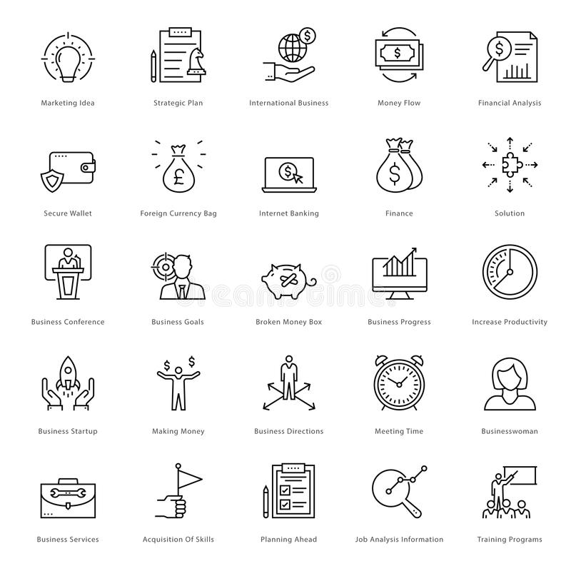 Banking and Finance Line Vector Icons 9 royalty free illustration