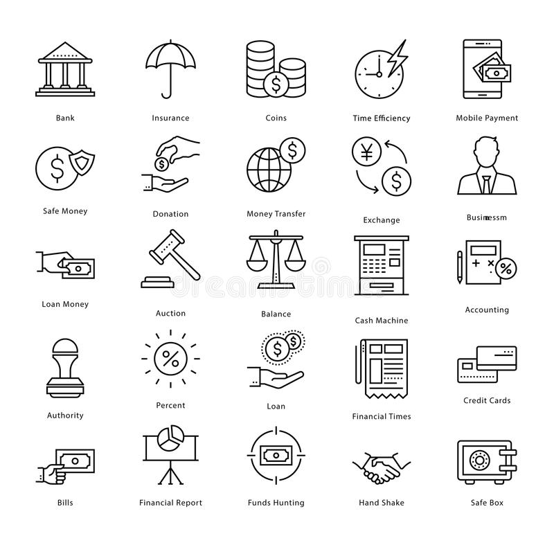 Banking and Finance Line Vector Icons 2 stock illustration