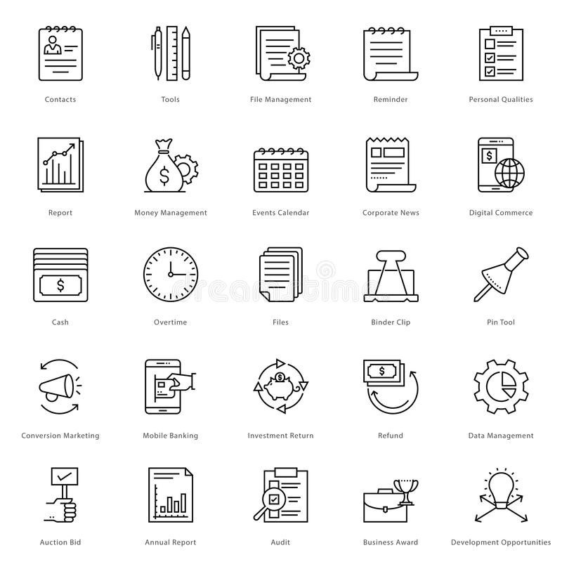 Banking and Finance Line Vector Icons 24 stock illustration
