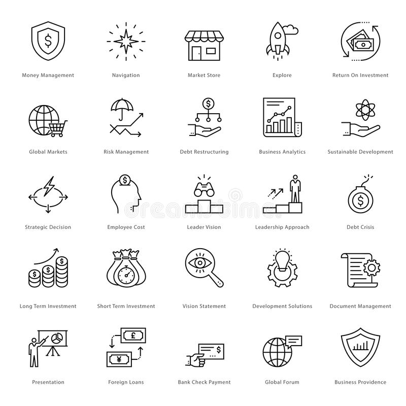 Banking and Finance Line Vector Icons 7 stock illustration