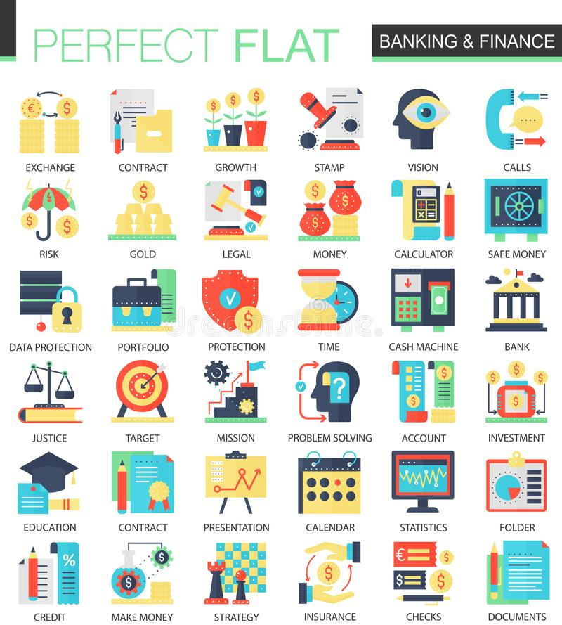 Banking and finance vector complex flat icon concept symbols for web infographic design. royalty free illustration