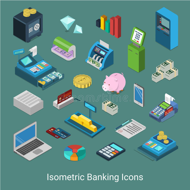Banking financial icon set flat 3d isometric vector money bank royalty free illustration