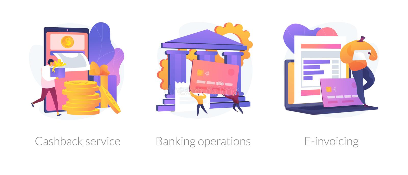 Banking and financial services vector concept metaphors. E banking icons set. Return on investment, financial services, internet tax payment. Cashback service stock illustration