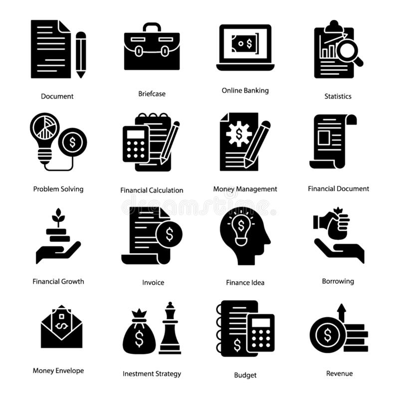 Banking Glyph Icons vector illustration