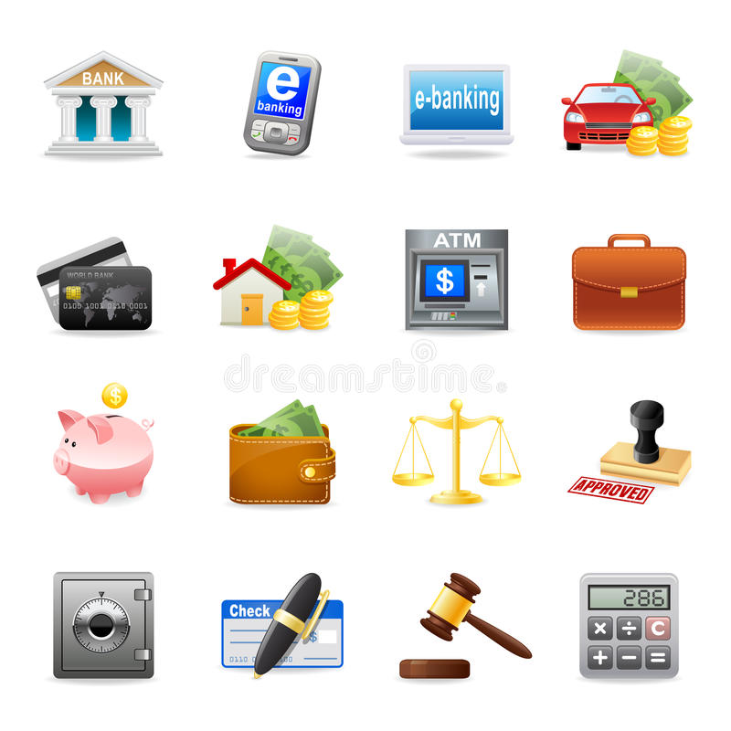 Banking icon. A set of color web icons with light shadow